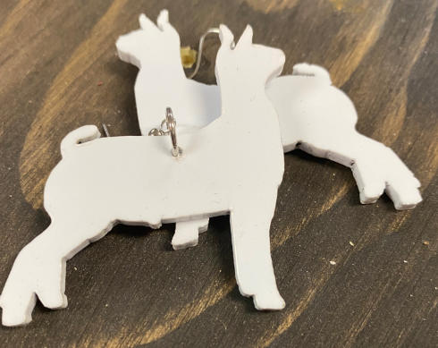 Large White Goat Earring