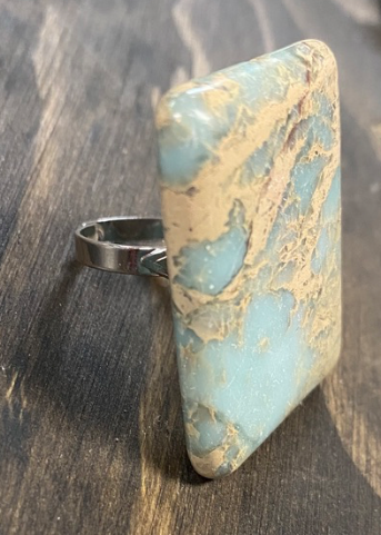 Square Turquoise and Gold Ring