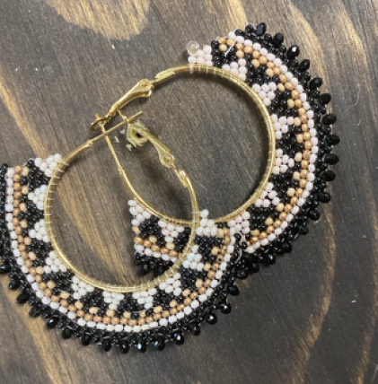 Black White and Gold Beaded Earrings