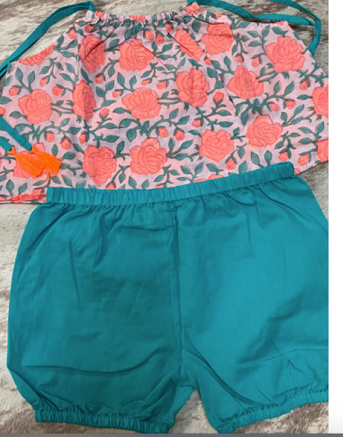 Neon Rose Top and Teal shorts