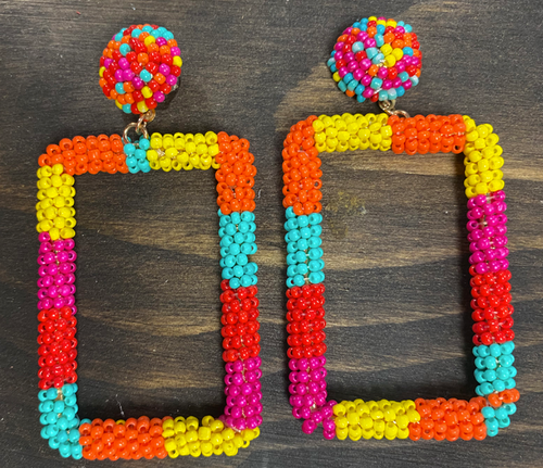 Multi-Color Square Earrings