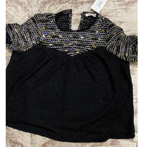 Short Sleeve Black and Multi-color top