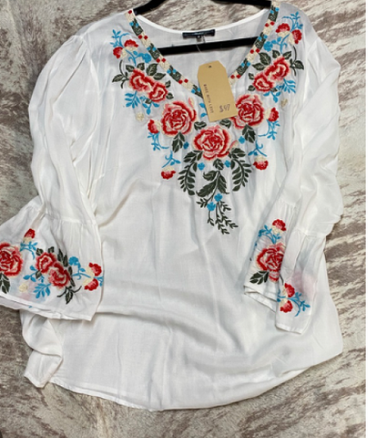 White Long Sleeves with Flowers