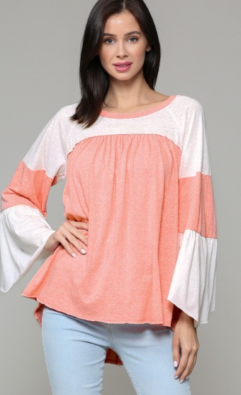 Ivory and Coral Color Block Top