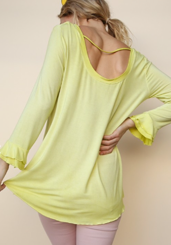 Apple Green Washed Low Back Scalloped Top