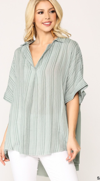 Sage Back Button Detailed Stripe Blouse