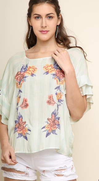 Sage Floral Embroidered Top