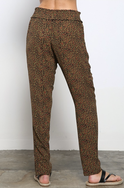 Olive and Rust Leopard Joggers