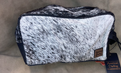 #14 Black Cowhide Makeup Bag