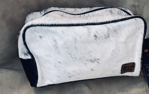 #16 White Cowhide and Black Leather Makeup Bag