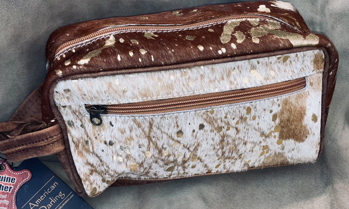 #13 Dark Brown and Gold Acid Wash Makeup Bag