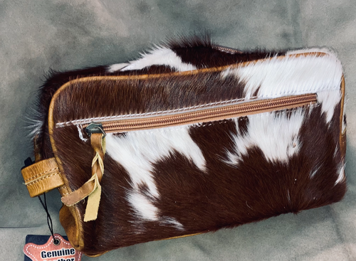 #17 Dark Brown Cowhide Makeup Bag