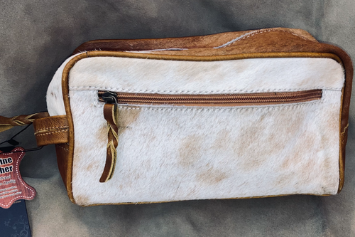 #15 Light Brown Cowhide Makeup Bag