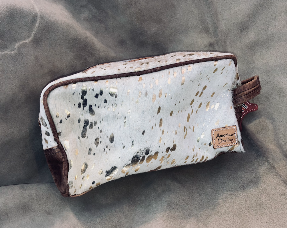 #12 Gold Acid Wash Makeup Bag
