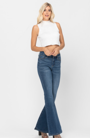 High Rise Flare Jeans (Regular and Plus Sizes)