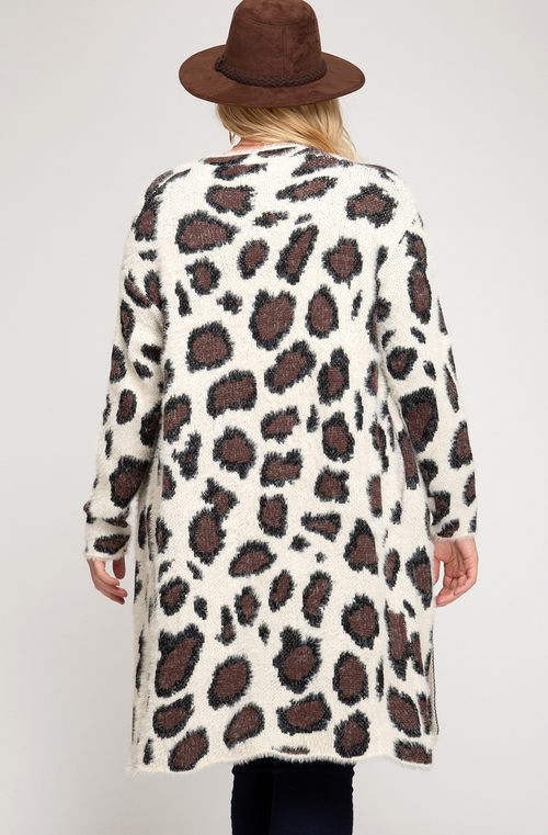 Plus Leopard Eyelash Sweater