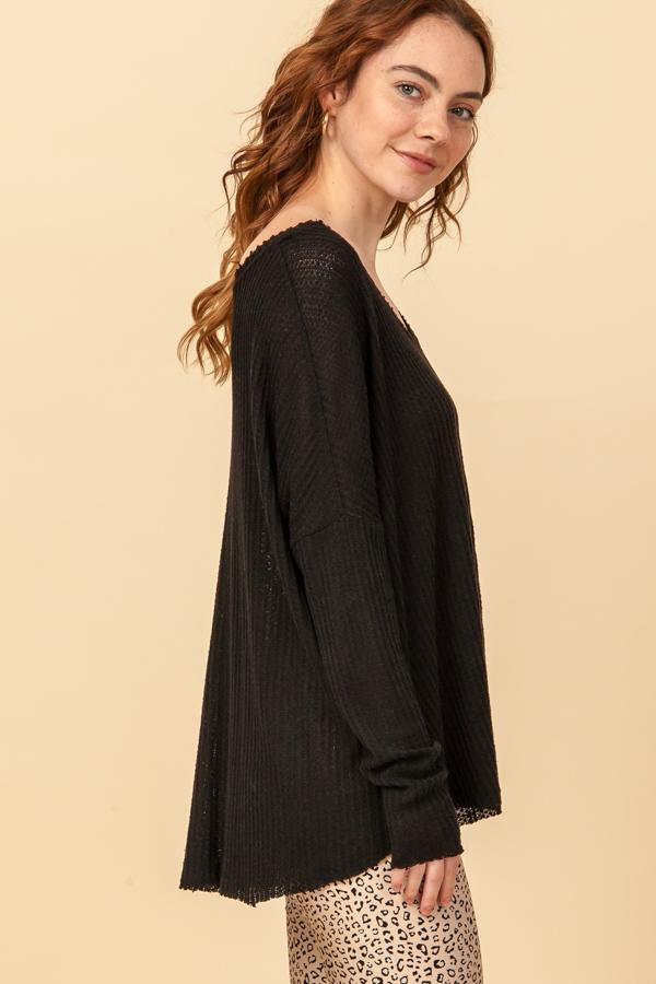 Fleece V-Neck Basic Top