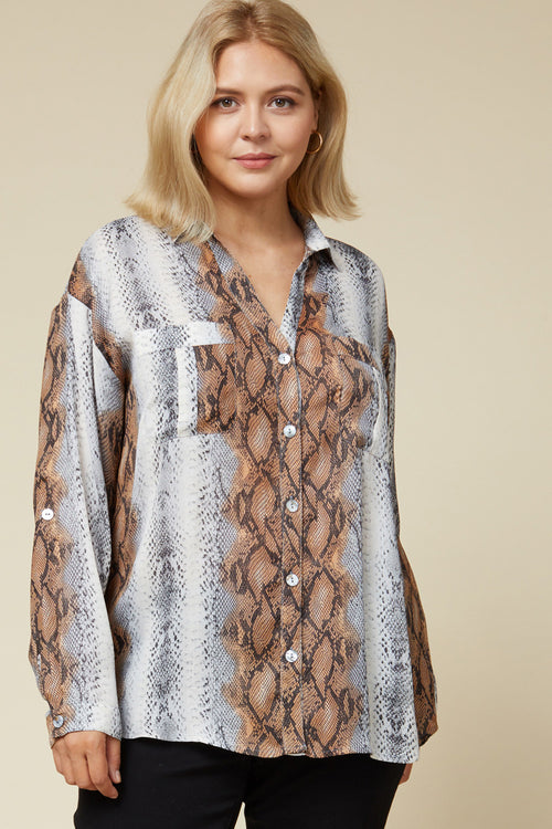 Snakeskin Button Top
