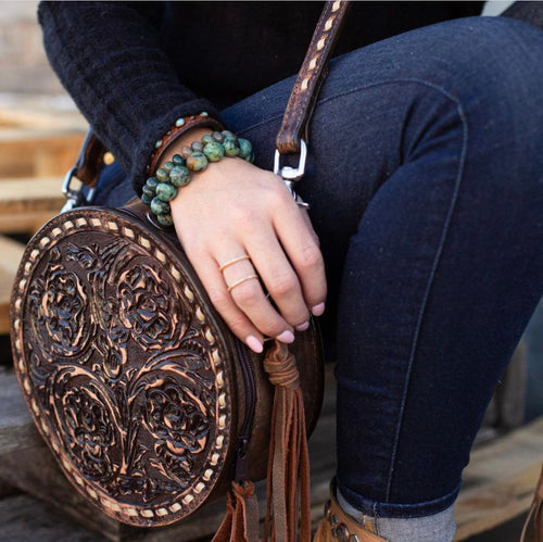 #21 Tooled Leather Circle Tote
