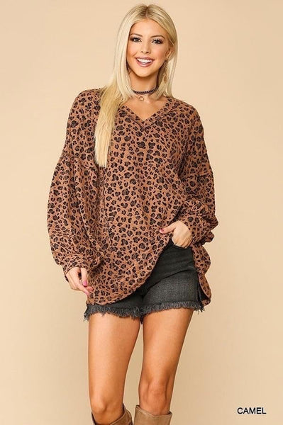 Leopard Textured Top with Balloon Sleeves (Plus and Regular)