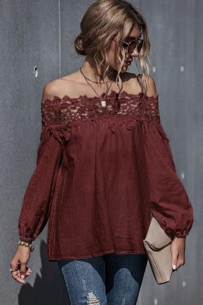 Off the Shoulder Lace Top (Preorder)