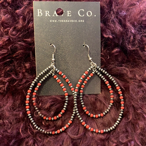 Tiny Navajo Pearl and Coral Double Teardrop Earrings