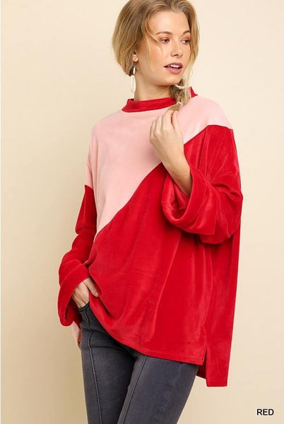 Colorblock Velvet Mock-neck Sweater