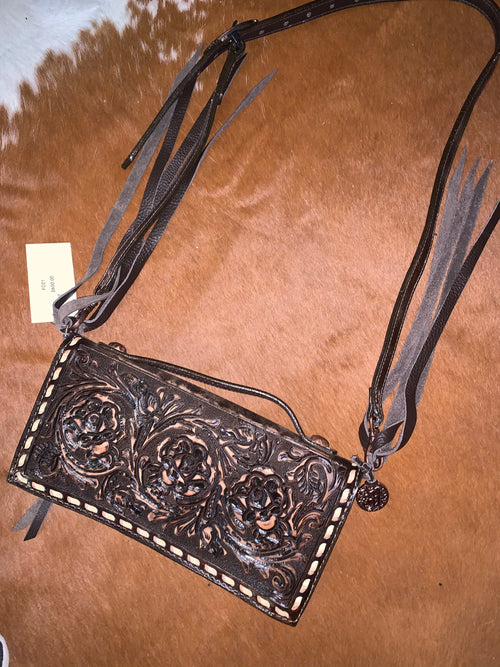 #7 Crossbody Wallet Tooled Bag