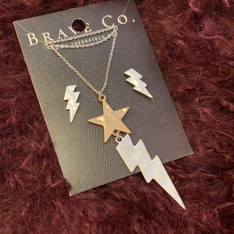 Metal Star and Lightning Bolt Necklace