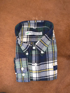 Little boy Hunter green, navy, and mustard plaid Flannel