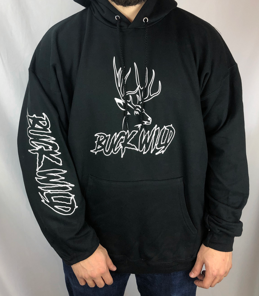Black Buck Wild Hoodie with White Logo - Dirty Doe & Buck Wild ,hunting apparel,camo,girls that hunt,huntress, buck wild,deer shirts,buck shirts,country shirt,country girl shirts, amazon,cabelas,bass pro shop,sportmans,