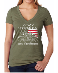 It Only Offends You Until It Defends You - Dirty Doe & Buck Wild ,hunting apparel,camo,girls that hunt,huntress, buck wild,deer shirts,buck shirts,country shirt,country girl shirts, amazon,cabelas,bass pro shop,sportmans,