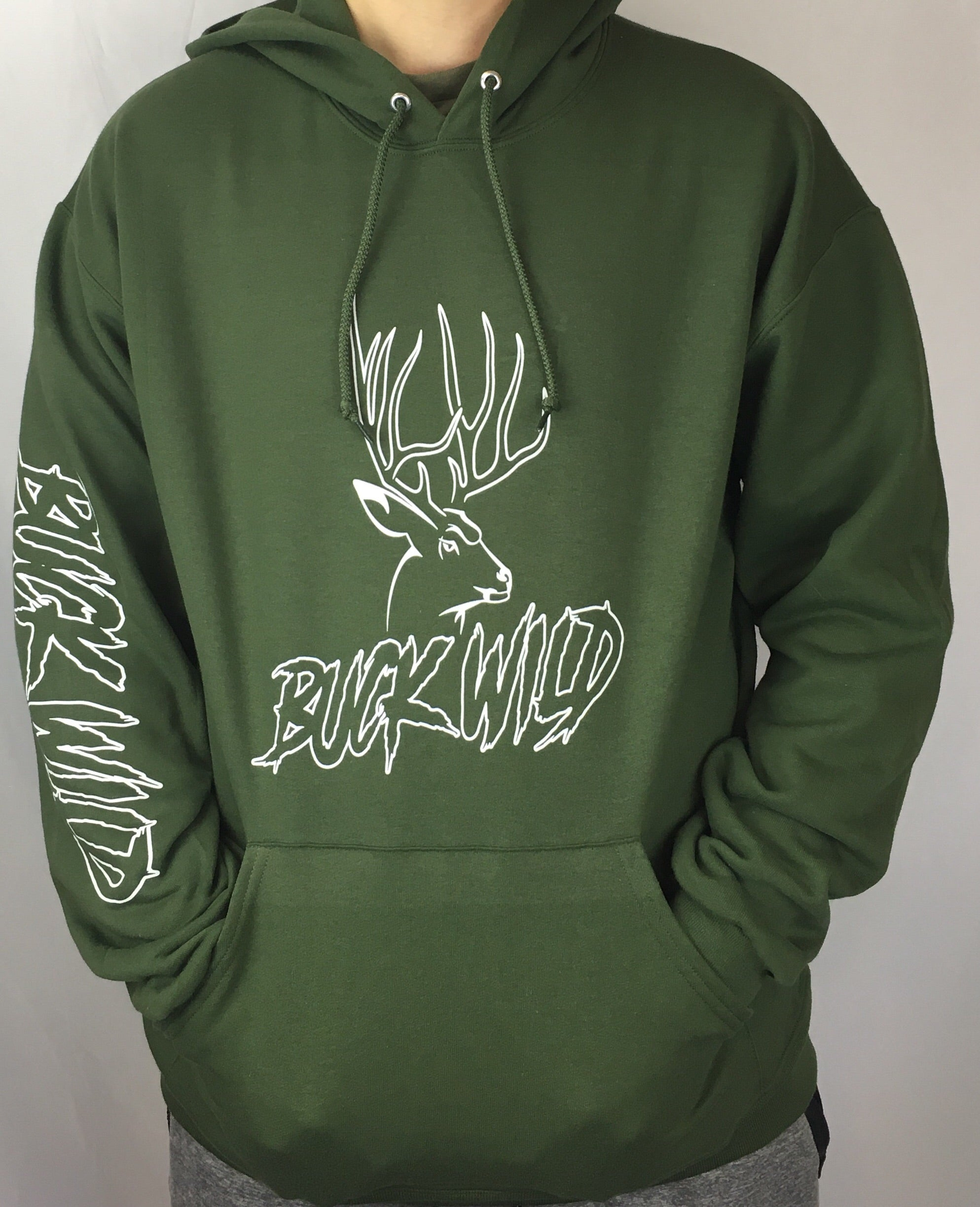 Buck Wild Military Green Hoodie - Dirty Doe & Buck Wild ,hunting apparel,camo,girls that hunt,huntress, buck wild,deer shirts,buck shirts,country shirt,country girl shirts, amazon,cabelas,bass pro shop,sportmans,