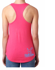 Dirty Doe Pink Racer Back Tank Top with black logo or blue logo - Dirty Doe & Buck Wild