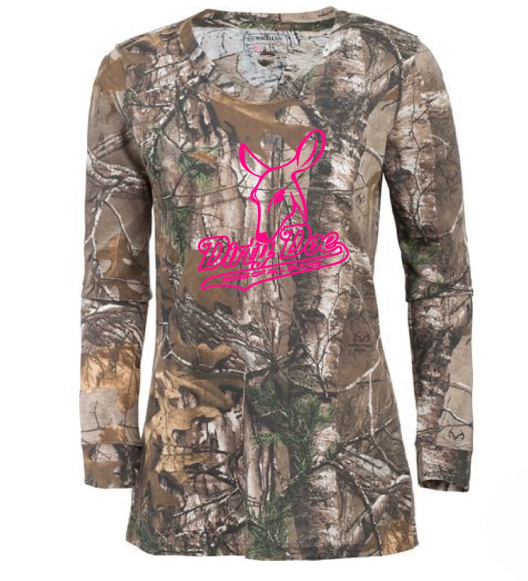 Dirty Doe Boss Of All bucks  Long Sleeve Camo Shirts - Dirty Doe & Buck Wild ,hunting apparel,camo,girls that hunt,huntress, buck wild,deer shirts,buck shirts,country shirt,country girl shirts, amazon,cabelas,bass pro shop,sportmans,