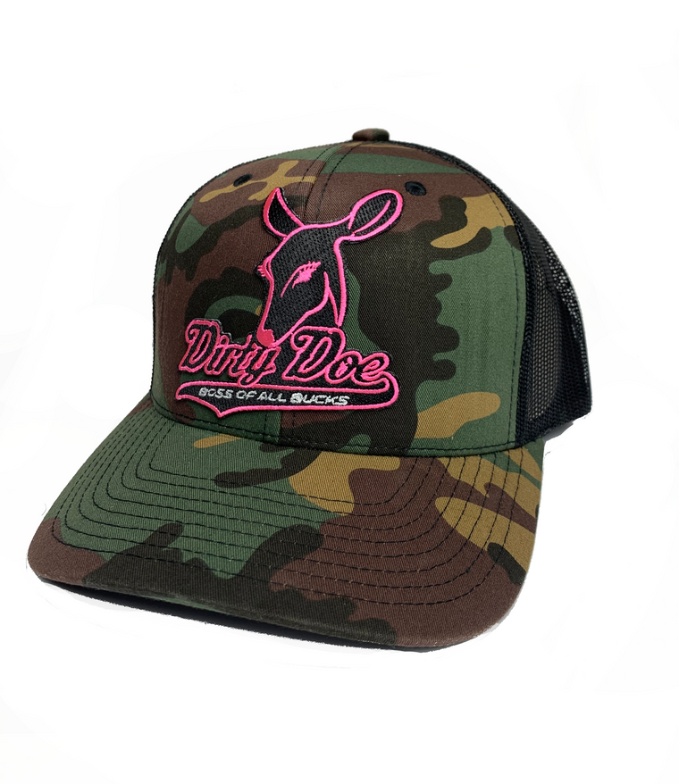 Dirty Doe Camo Neon Pink Patch Hat