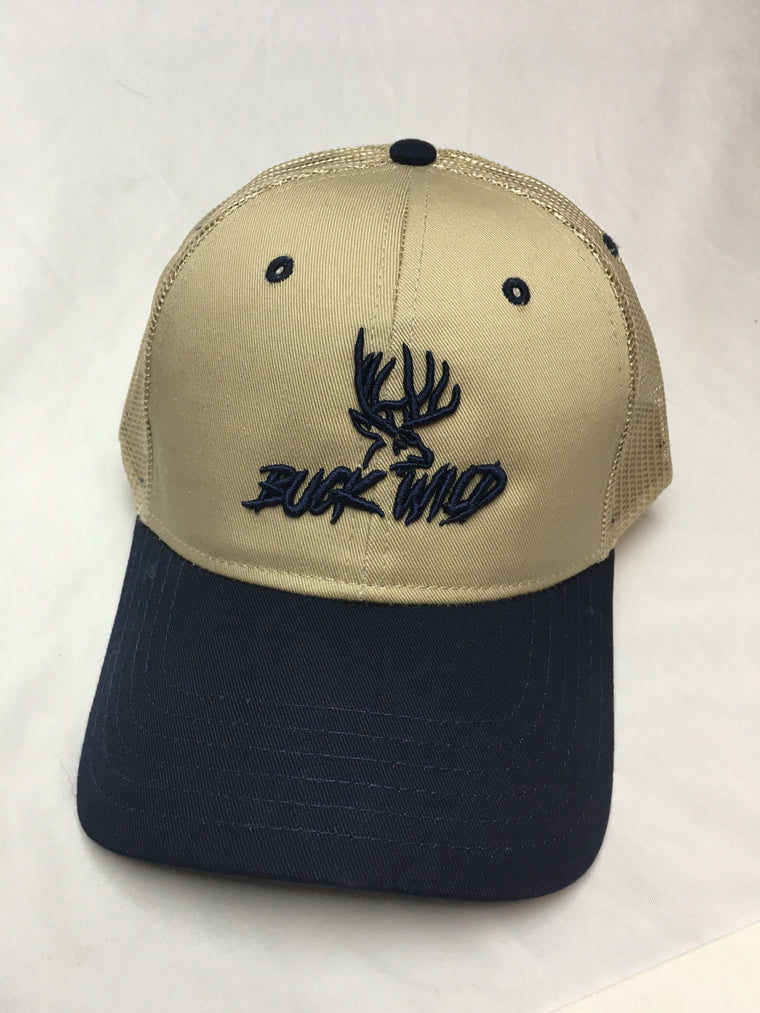 Buck Wild Navy Blue Logo With Beige Hat