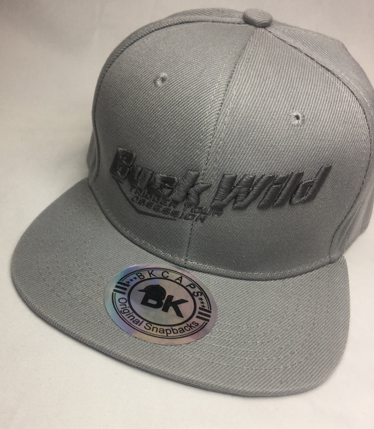 Buck Wild Flat Bill Hat in Gray with Gray Snap Back Hat