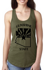 Gunshine State Racer Back Tank Top - Dirty Doe & Buck Wild ,hunting apparel,camo,girls that hunt,huntress, buck wild,deer shirts,buck shirts,country shirt,country girl shirts, amazon,cabelas,bass pro shop,sportmans,