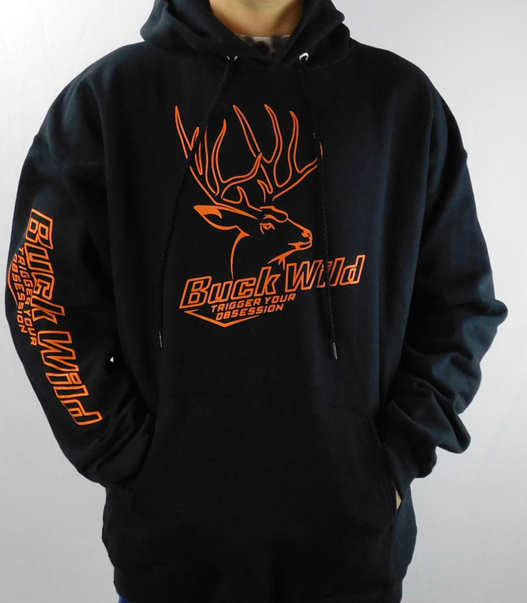 Buck Wild Black Hoodie With Orange Logo