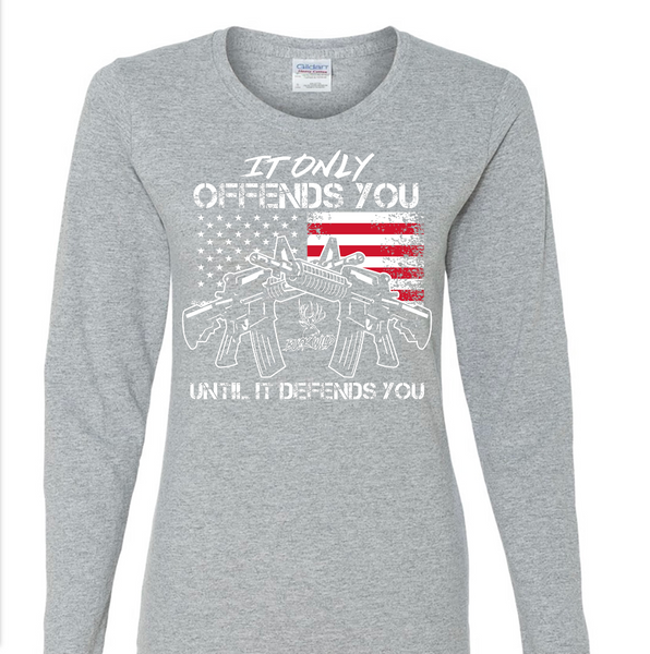 """AMERICAN GIRL"" Gray Sleeve with white/red logo - Dirty Doe & Buck Wild"