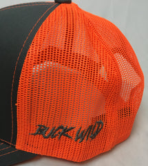 Buck Wild Muley Logo Flex Fit Hat in Gray With Neon Orange Logo Hat - Dirty Doe & Buck Wild ,hunting apparel,camo,girls that hunt,huntress, buck wild,deer shirts,buck shirts,country shirt,country girl shirts, amazon,cabelas,bass pro shop,sportmans,