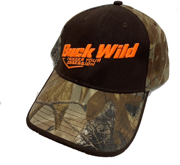 Buckwild Camo Outdoor Hat Buckle Adjustable with orange or tan logo