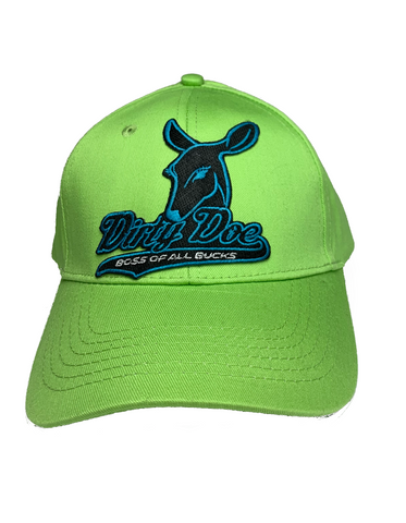 Youth Summer Green With Neon Blue Dirty Doe Patch Hat