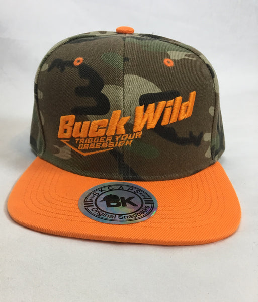 Buck Wild Camo With Orange Snap Back Hat - Dirty Doe & Buck Wild ,hunting apparel,camo,girls that hunt,huntress, buck wild,deer shirts,buck shirts,country shirt,country girl shirts, amazon,cabelas,bass pro shop,sportmans,