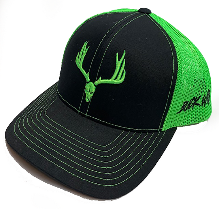 Buckwild Neon Green Hat with black front or Charcoal gray
