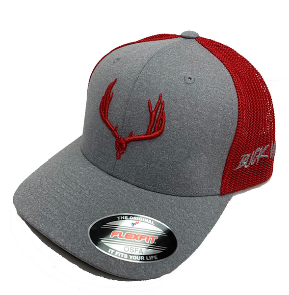 Buck Wild Gray With Red Logo Flex Fit Hat - Dirty Doe & Buck Wild ,hunting apparel,camo,girls that hunt,huntress, buck wild,deer shirts,buck shirts,country shirt,country girl shirts, amazon,cabelas,bass pro shop,sportmans,