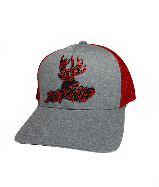 Buckwild Heather Gray with Red Buckwild Patch Flex Fit Hat