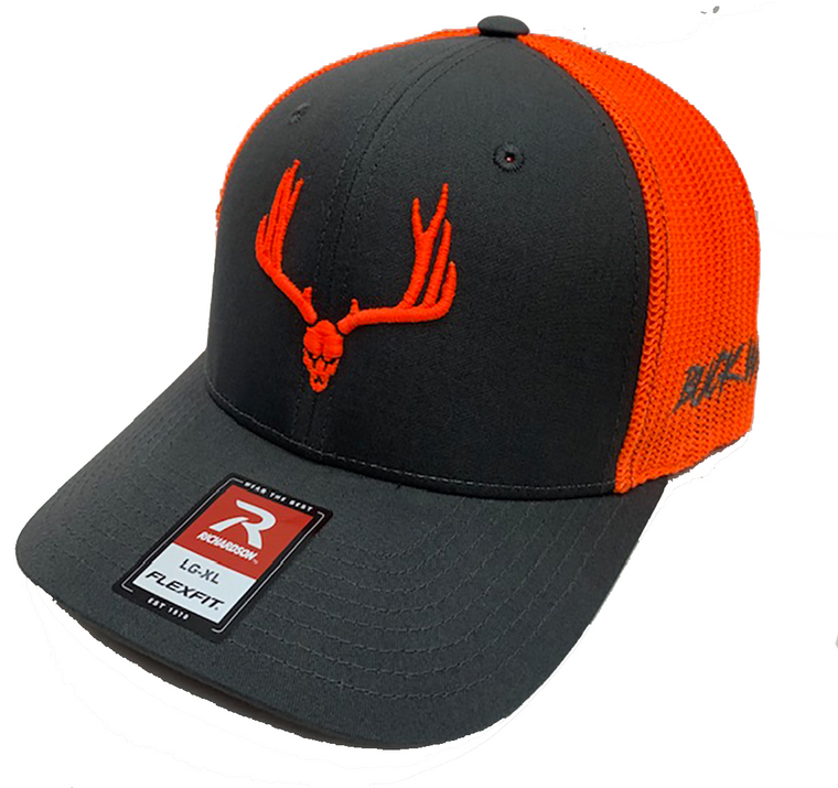 Buck Wild Muley Logo Flex Fit Hat in Gray With Neon Orange Logo Hat