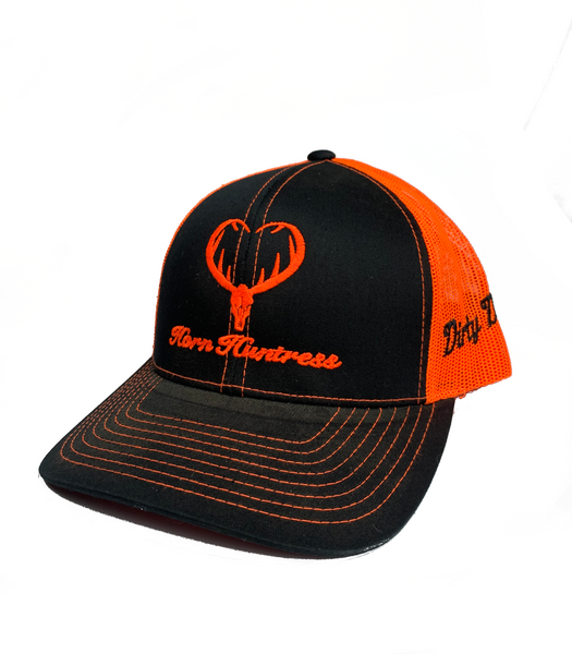 Dirty Doe Horn Huntress Neon Orange Snapback Hat
